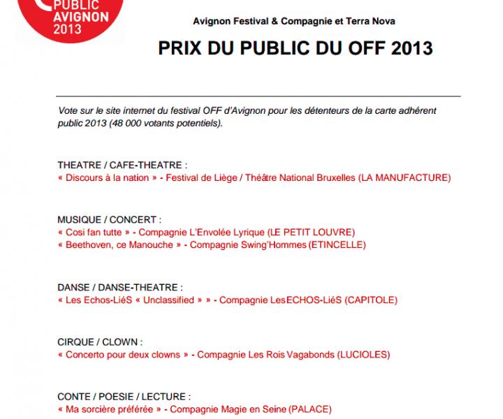Yogane Prix du Public à Avignon 2013